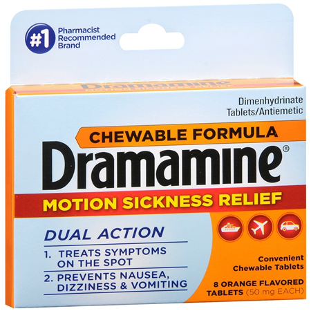 Dramamine Motion Sickness Relief Chewable Tablets, 8ct