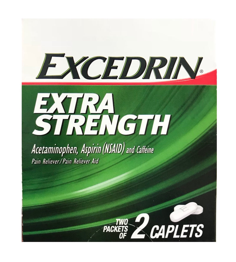 Excedrin extra strength, acetaminophen 250mg, two packets of 2 caplets (6-Pack)