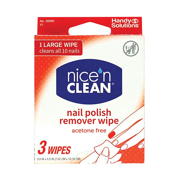 Nicen Clean Nail Polish Remover wipe 3 Wipes (6-Pack)