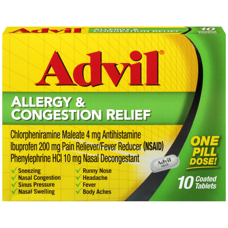 Advil Allergy and congestion relief 10 count, pain reliever, fever, 200mg ibuprofen