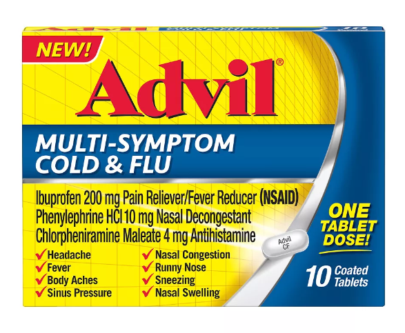 Advil Multi-Symptom Cold and Flu Coated Tablets - 10 ct