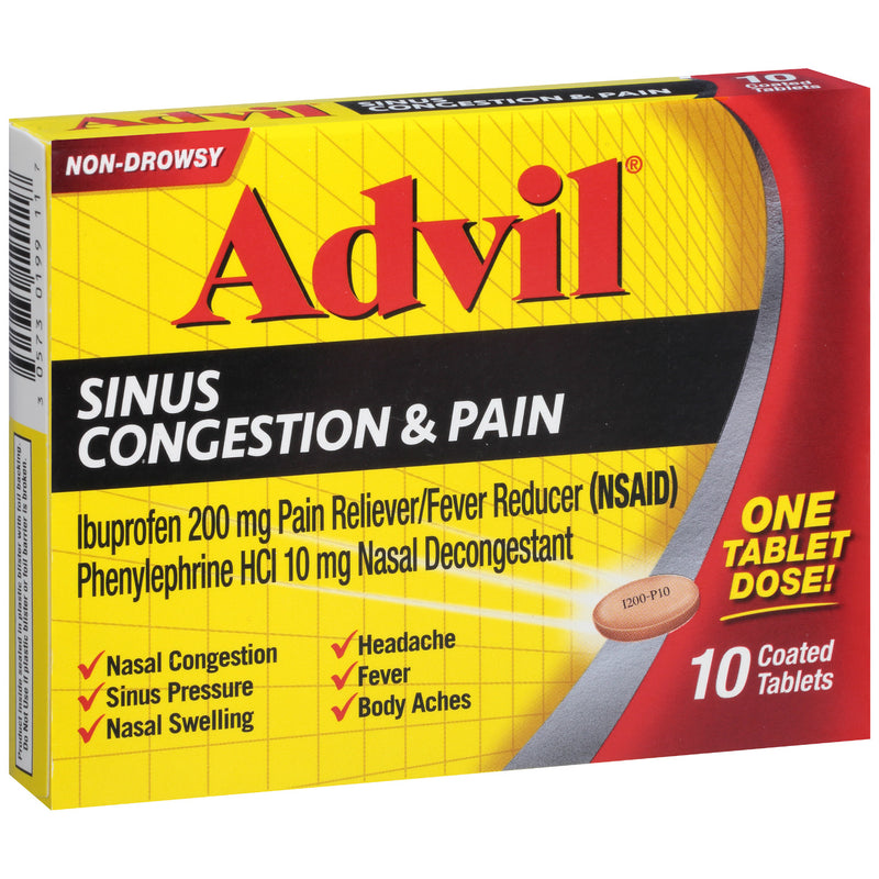 Advil - Sinus Congestion & Pain - 10 Coated Tablets