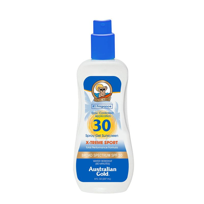 Australian Gold SPF 30 XTREME SPORT SPRAY GEL SUNSCREEN, 8oz