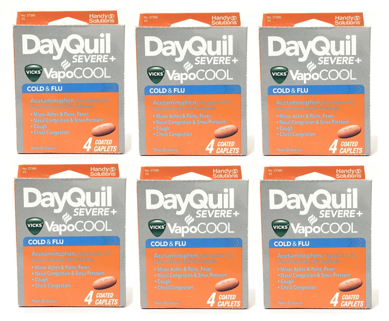 Vicks Dayquil Severe+ VapoCOOL Caplets, 4 coated caplets (Case of 6)