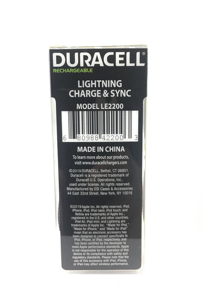 Duracell LE2200 Sync And Charge Cable, Apple Lightning, 6ft,