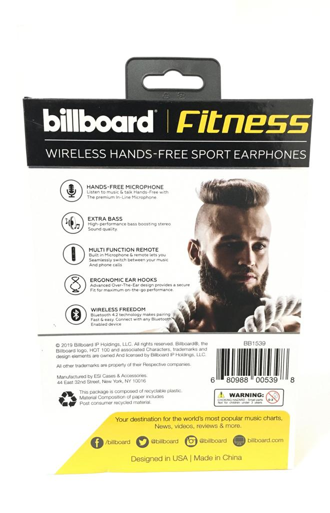 Billboard BB1539 secure fit wireless sport earphones Fitness yellow