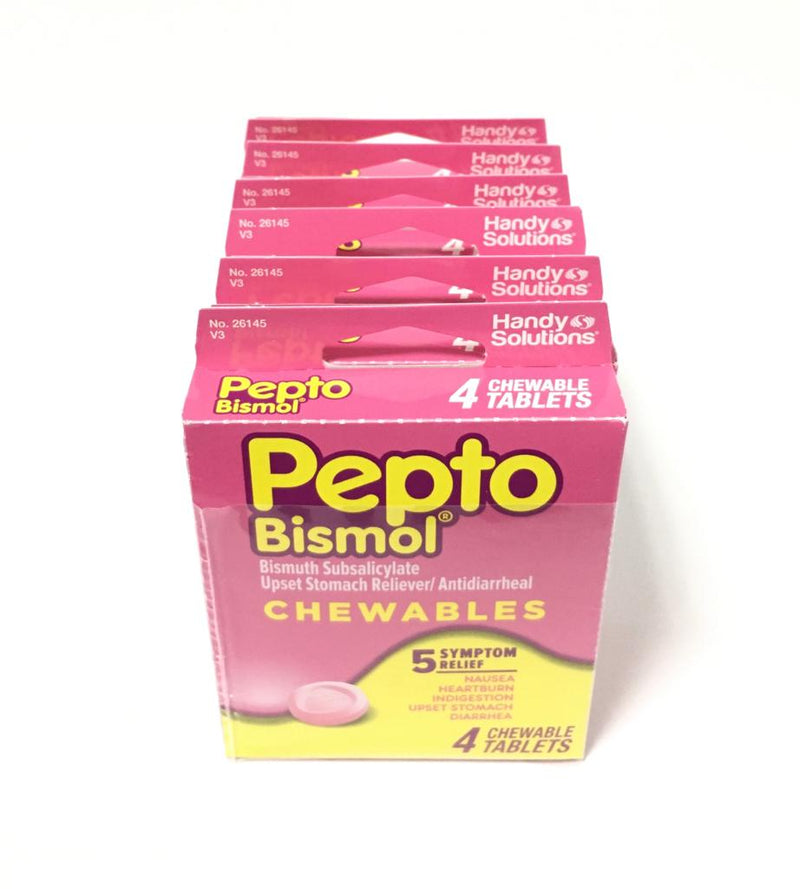 Pepto Bismol - TS 5 Symptom Relief - 4 Chewable Tablets (6-Pack)