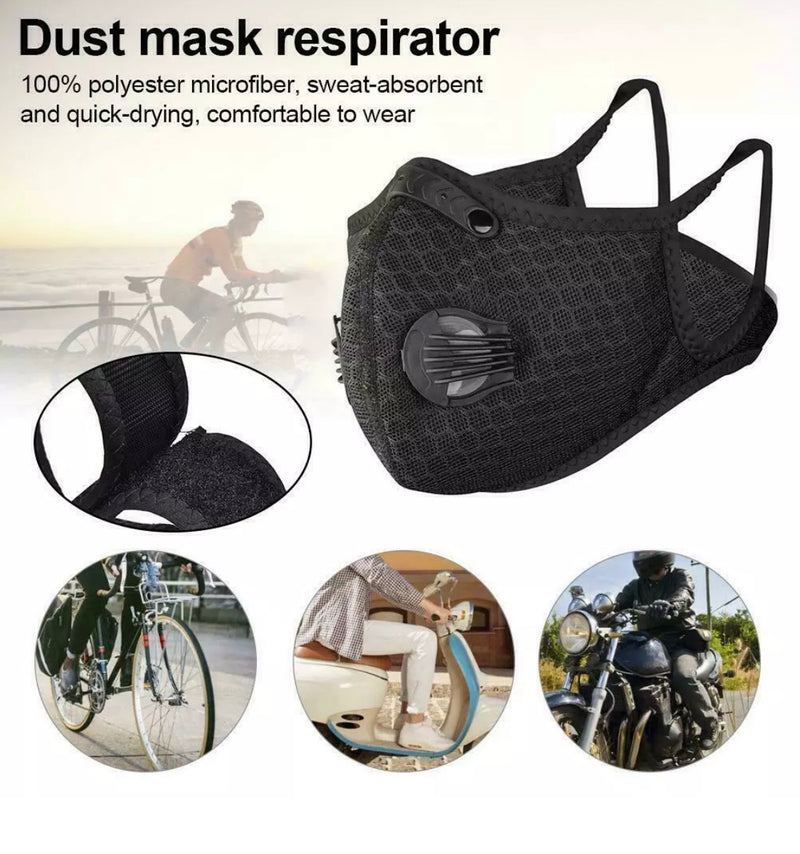 Face Mask Anti-Pollution Filtered, Mesh Fabric (Black Color Only)