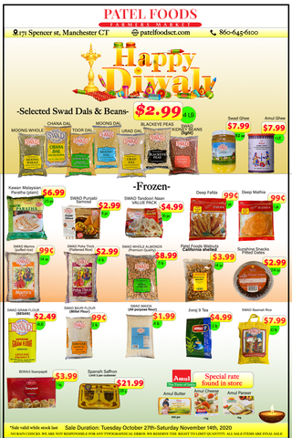 Diwali Sale Indian Grocery Connecticut big savings swad dal, amul ghee butter, paneer, Naan, samosa, millet flour