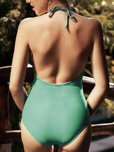 Load image into Gallery viewer, Green One-Piece Swimsuit Halter Plunge Open Back