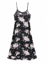 Load image into Gallery viewer, Black Cotton Blend Floral Print Ruffle Trim Chic Women Cami Midi Dress