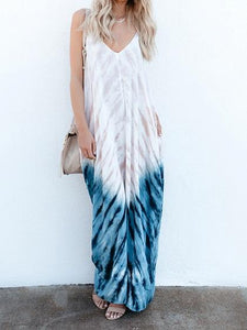 Blue Cotton V-neck Printed Detail Backless Chic Women Cami Maxi Dress