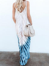 Load image into Gallery viewer, Blue Cotton V-neck Printed Detail Backless Chic Women Cami Maxi Dress