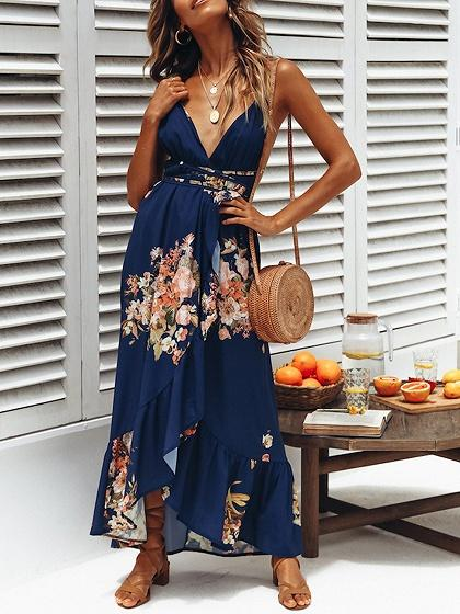 Blue V-neck Floral Print Open Back Chic Women Cami Maxi Dress