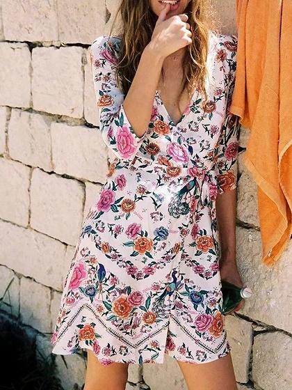 Polychrome Cotton V-neck Floral Print Tie Waist Chic Women Mini Dress