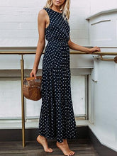 Load image into Gallery viewer, Dark Blue Cotton Polka Dot Print Sleeveless Chic Women Maxi Dress