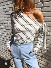 Load image into Gallery viewer, Blue Stripe Asymmetric Neck Long Sleeve Chic Women Blouse