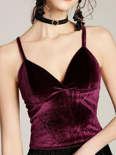 Load image into Gallery viewer, Burgundy Women Crop Cami Top Velvet V-neck Chic