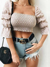 Load image into Gallery viewer, Pink Women Crop Top Square Neck Polka Dot Print Puff Sleeve