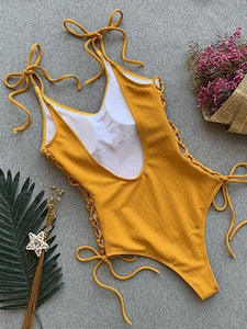 Yellow V-neck Lace Up Side Open Back One-Piece Swimsuit