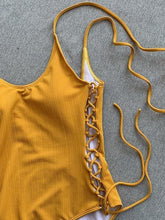 Load image into Gallery viewer, Yellow V-neck Lace Up Side Open Back One-Piece Swimsuit