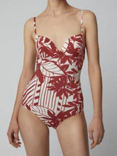 Load image into Gallery viewer, Red One-Piece Swimsuit V-neck Floral Print