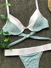 Load image into Gallery viewer, Green Bikini Set Contrast Polka Dot Print Tie Back
