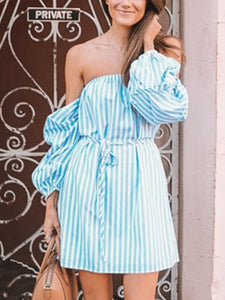 Women's Blue Stripe Off Shoulder Mini Dress