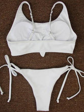 Load image into Gallery viewer, White  Bikini Set Knot Front