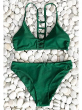 Load image into Gallery viewer, Green Bikini Set Lace Up Front