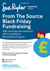 sue ryder manorlands from the source fundraising black friday 2018 poster