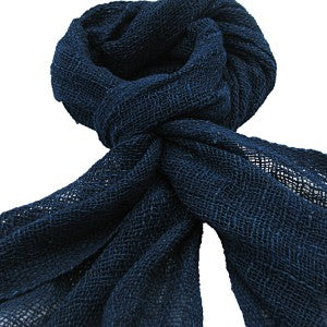 Indigo Blue Loose Weave Organic Cotton Scarf