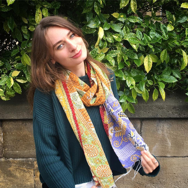 model wears vintage kantha stitch scarf