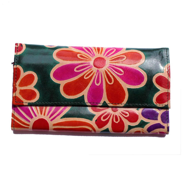 fair trade leather flower purse in forest green