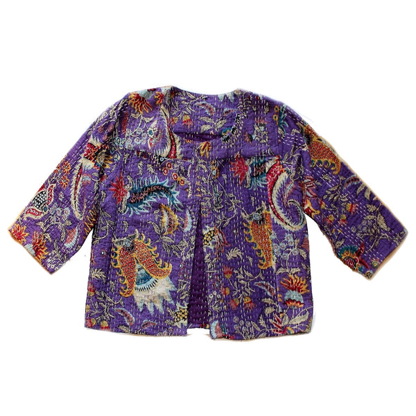 fair trade bolero kantha stitch vintage purple india jacket front