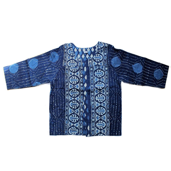 fair trade block print cotton india bolero jacket in indigo