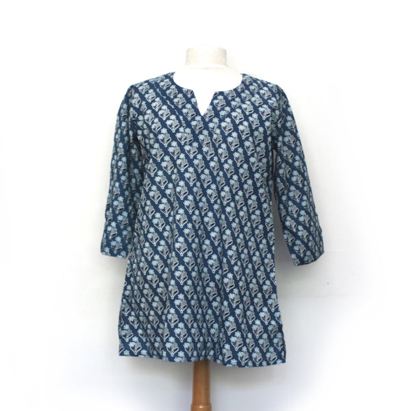block print blue tunic beach dress from india - front view