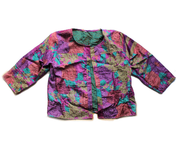 colourful silk bolero fairly traded from india and kantha stitched
