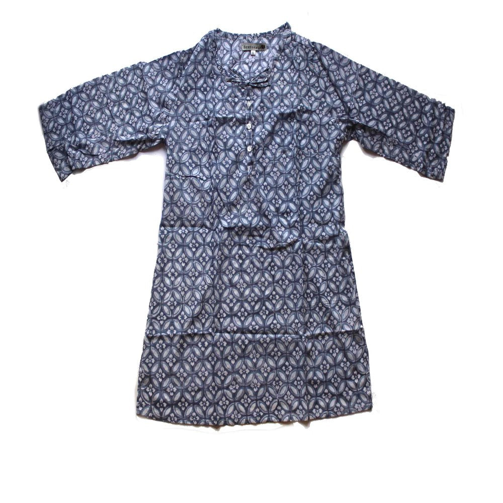 fair trade blue floral tunic top block printed from rajasthan