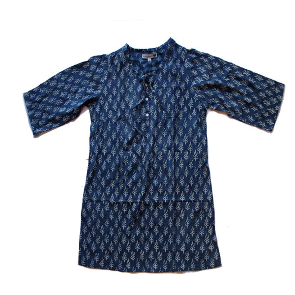 fair trade indigo tunic top block print from india