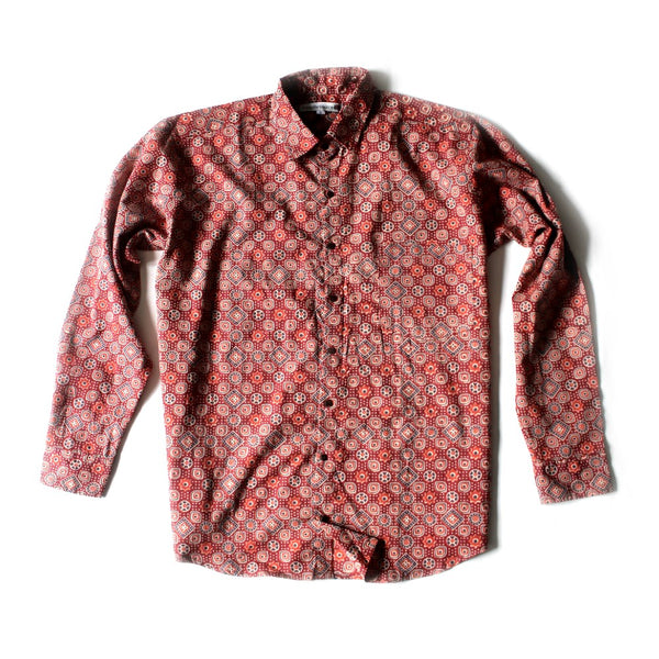 shapes block print cotton men's shirt