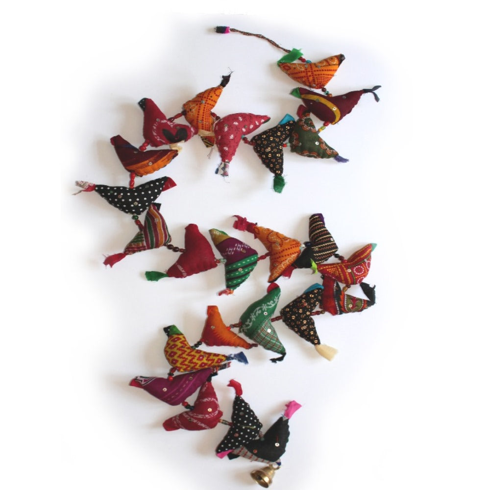 large string of hanging birds decoration made in india