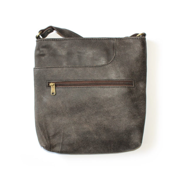 leather shoulder bag sourced from india in a unisex design -slate