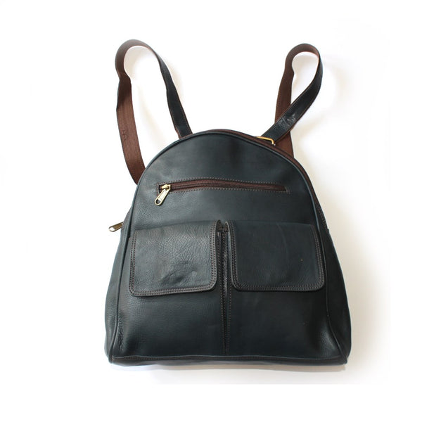 leather backpack in dark blue sourced from india