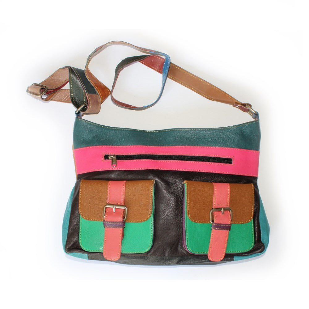 leather messenger bag in electric colours