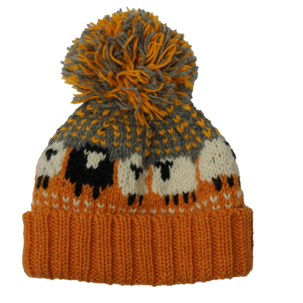 chunky knitted sheep bobble hat