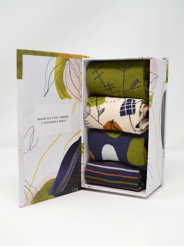 Sybil Bamboo Pretty Abstract 4 Pack Sock Gift Box