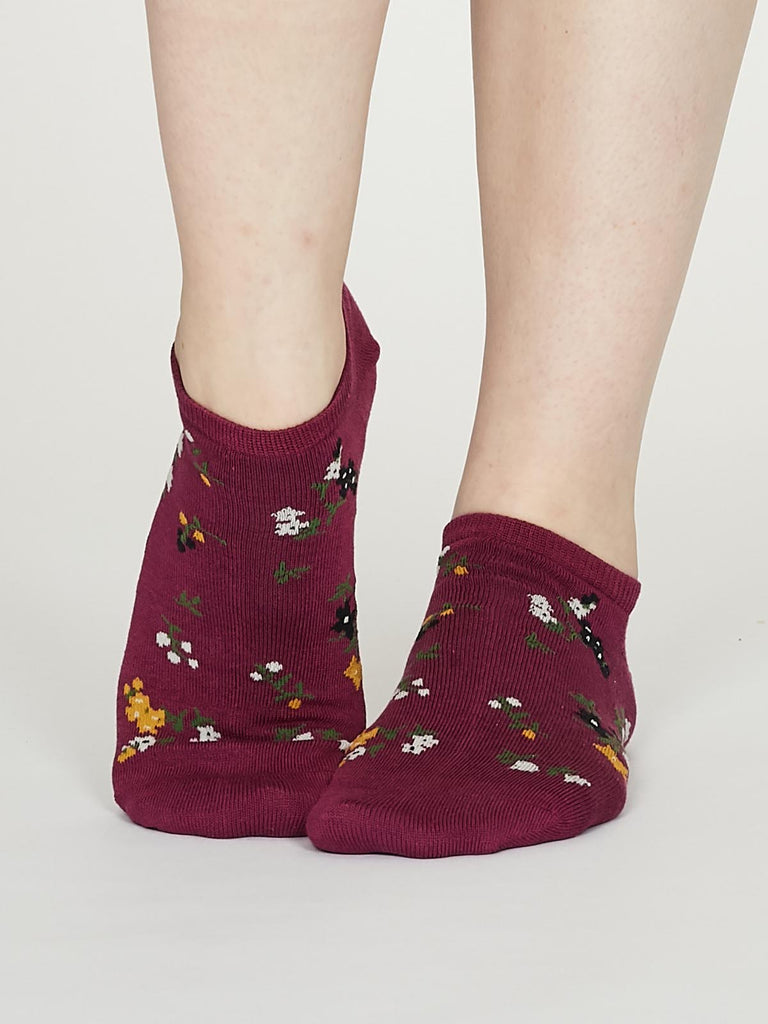 Flowery Bamboo Floral Trainer Socks