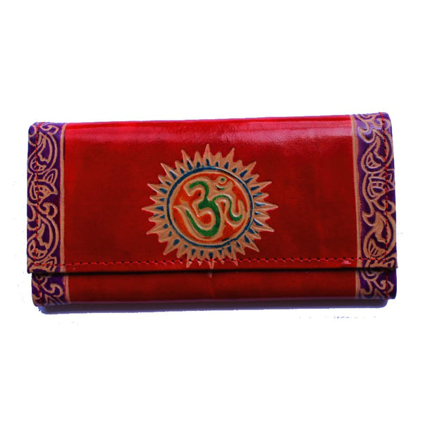 fair trade india om symbol purse in scarlet red