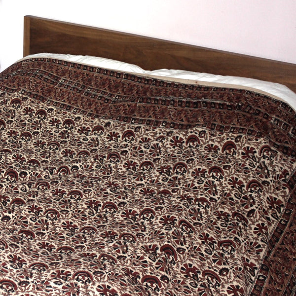 brown floral vine block print throw made in india